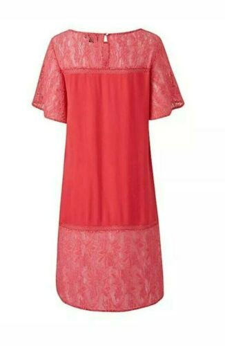 Lovedrobe Coral pink lace tunic top UK 12,16,18,22,24