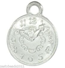 10 x Silver Plated Clock Charms, Watch Pendants, Alice in Wonderland, 3 for 2