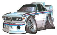 BMW 3.0 CSL cartoon t-shirt FIA ETCC Stuck Amon Posey Batmobile E9 scca 3.0CSL