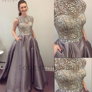 Crystals-Evening-Dresses-Sleeveless-Formal-Prom-Gowns-Party-Cocktail-2018-Custom