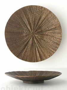 Kunsthandwerk-grosse-massive-Lava-Bronze-Schale-Teller-Tafelaufsatz-33cm-3kg
