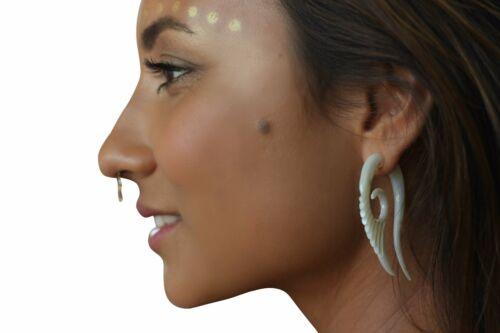 Fake Ear Gauge Exotic Handmade Carved Shell Split Hook Earring Piercing with Bar