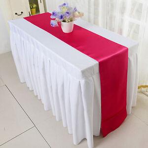 "12"" x 108"" Satin Table Runner Wedding Venue Decorations Wedding Party EC"