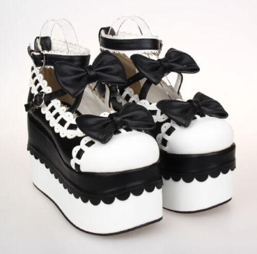 talons Chaussures rond femmes à Bowknot pour hauts Mary forme bout plate Jane Nouvelle Lolita Cosplay à qtfapp