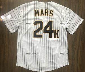 Bruno-Mars-24K-Hooligans-Men-039-s-Baseball-Jersey-Stitched-White