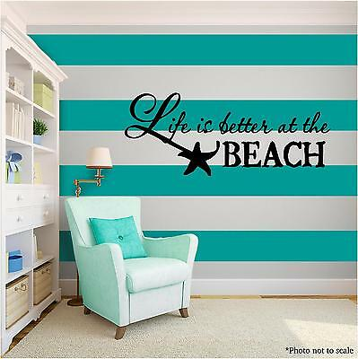 BETTER AT THE BEACH Vinyl Wall Art Wall Quote Home Room Decor Decal Word Phrase