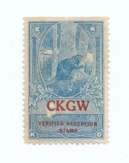 EKKO radio reception stamp, CKGW, Toronto, Ontario