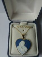 Qvc Usa 10k Yellow Gold, Mother And Child Cameo Heart Necklace.