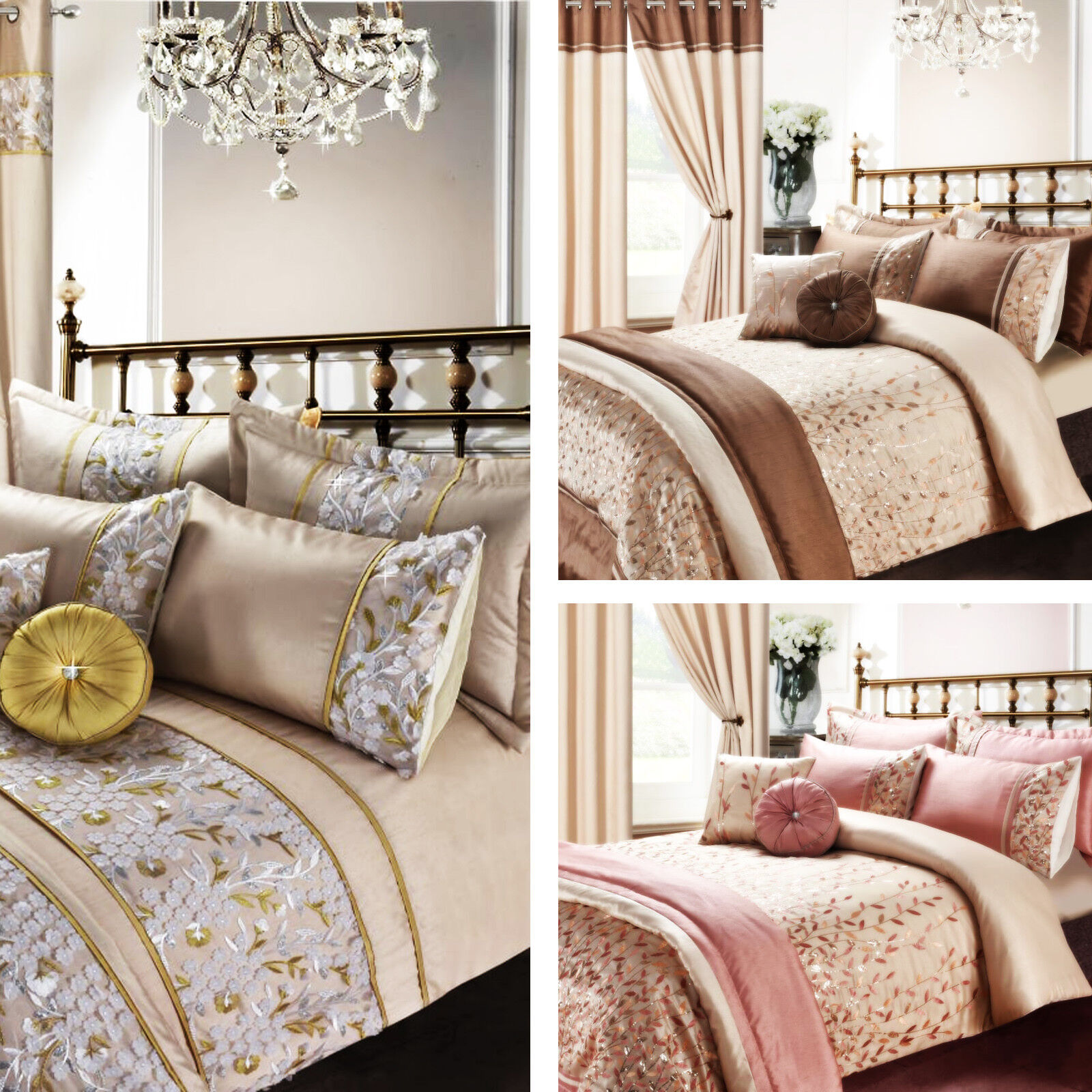 Luxury Embroidery Duvet Set,Curtains, Pillow, Throws and Cushion Covers Set