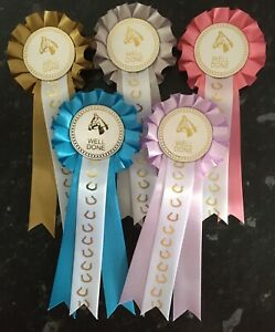 5-x-1-Tier-Horse-Head-Well-Done-Rosettes-with-Horse-Shoe-Printed-Tail-FREE-POST