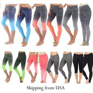 b466134170d66 Women Capri Cropped Leggings Yoga Pants for Gym Fitness Workout Wear ...