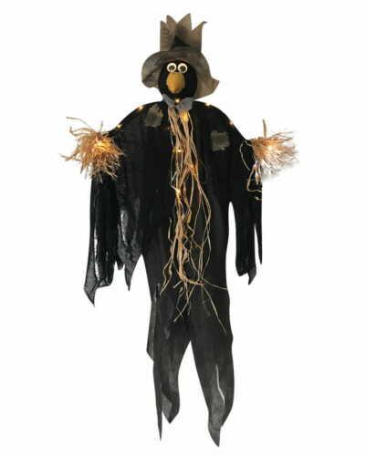 Raben Vogelscheuche Halloween Hängefigur mit LED Beleuchtung