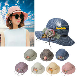 33c0fc3d5 Summer Women Beach Wide Brim Hat Sun Visor Cap Foldable Stripe ...