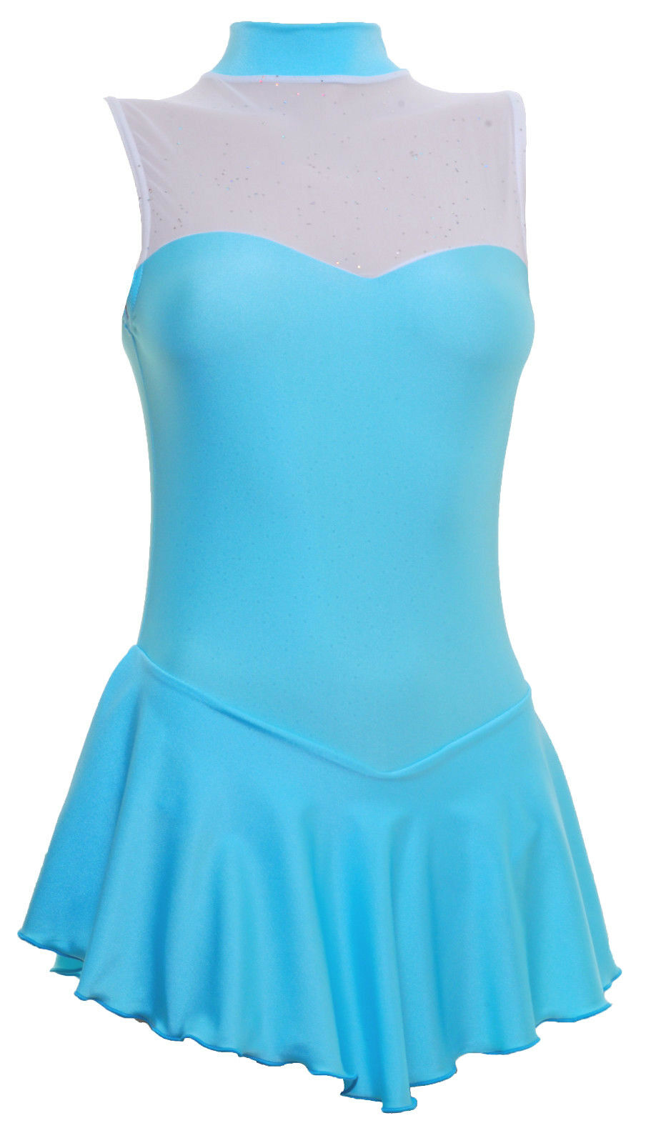 Skating Dress -AQUA LYCRA GLITTER MIST - SLEEVELESS ALL SIZES AVAILABLE