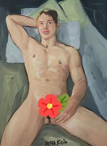 Nude-Male-Model-Acrylic-Painting-Artist-Original-Signed