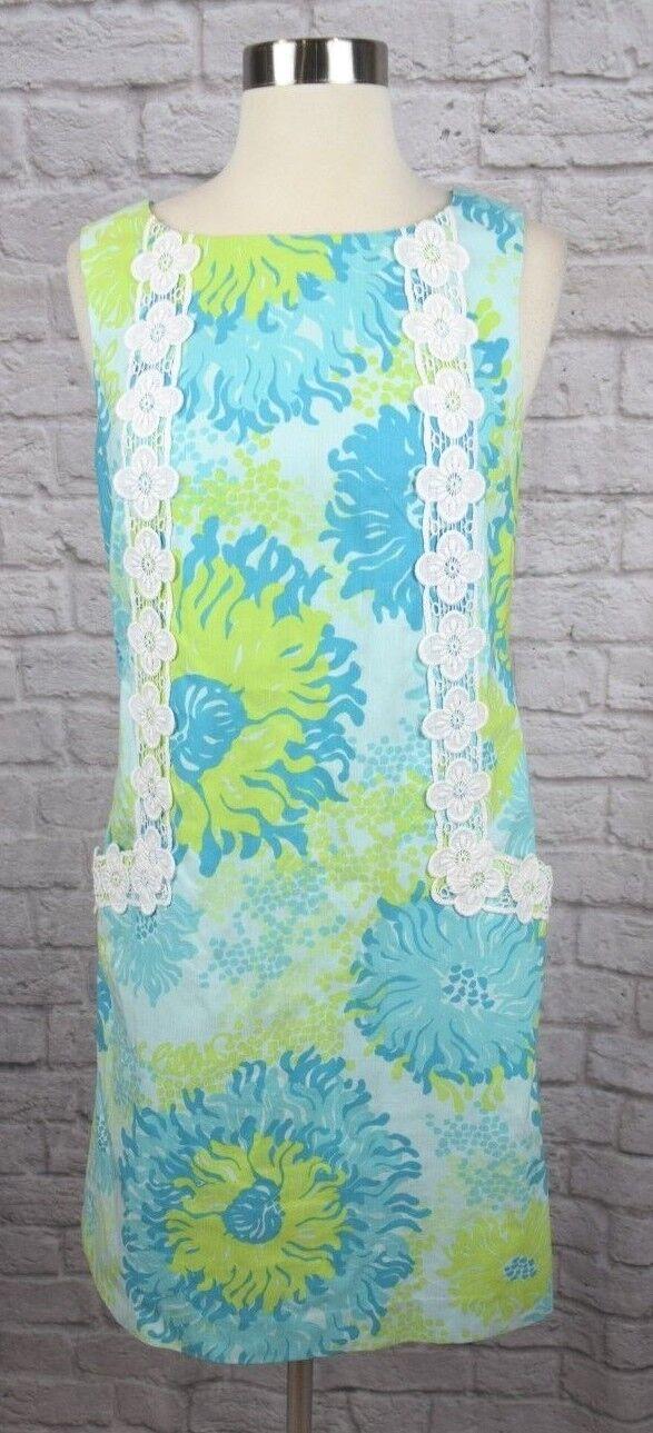 Lilly Pulitzer Originals 4 Vintage Blau Grün Floral Lace Trim Shift Dress