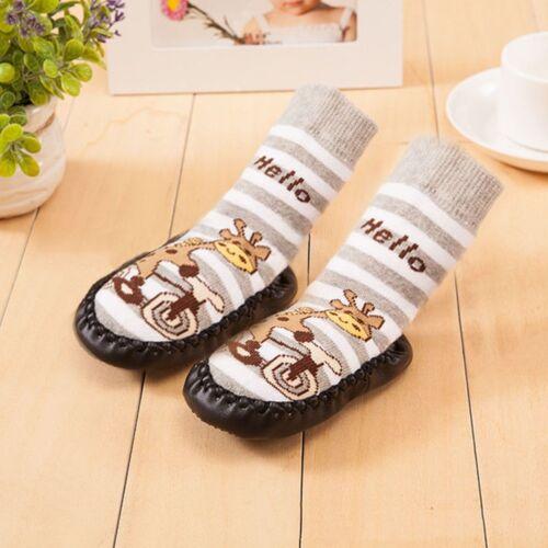 Cartoon Baby Toddler Kids Anti-slip Crawling Socks Shoes Slipper Boots 0-24M UK