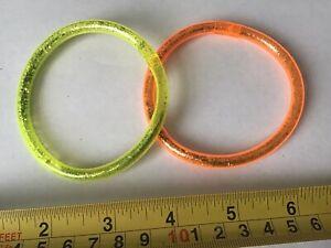 OLD RETRO 80's VINTAGE PLASTIC NEON Glittery YELLOW ORANGE BRACELET x 2 New Bnip