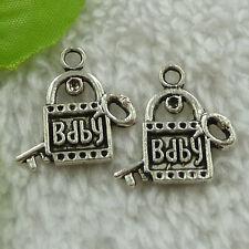 free ship 176 pieces tibet silver lock key charms 23x22mm #3581
