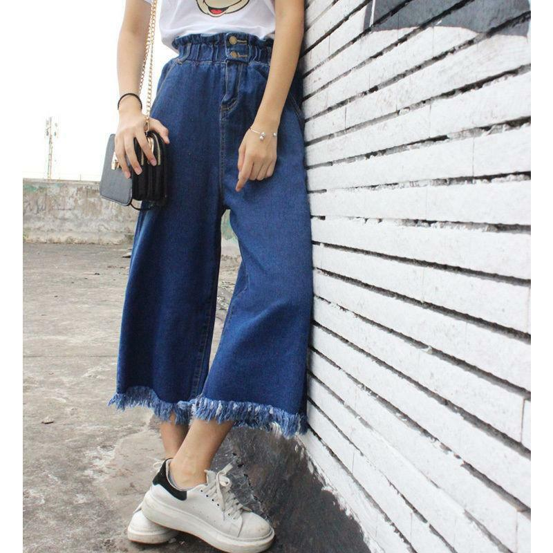 New womens lady loose plus size tassels wide leg jeans pants trousers size