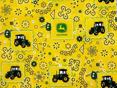 John Deere Farm Tractors on Bandana Yellow BY YARDS Springs Cotton Fabric
