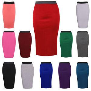 Ladies-Midi-Pencil-Skirt-Women-Plain-Office-Jersey-Bodycon-Tube-Flare-Skirts