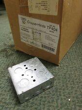 """BOX OF 50 COOPER TP414 CROUSE-HINDS 4/"""" SQUARE BOX 1 1//2 DEEP 3//4 KOS ***NIB***"""
