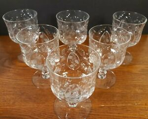 6-Libbey-Rock-Sharpe-Burleigh-Polished-Cut-Footed-Juice-Cordial-Goblet-Glasses