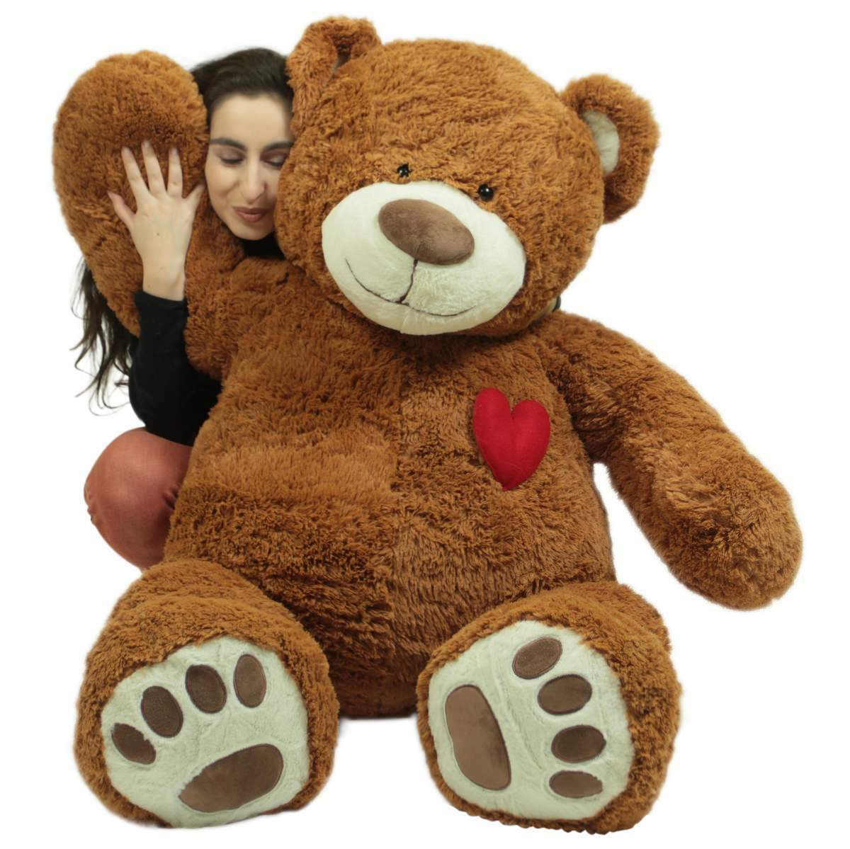 Big Plush Giant 5 Foot Teddy Bear with Heart on Chest Huge Valentine Gift Love