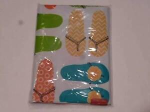 Vinyl-Tablecloth-w-Flip-Flops-Yellow-Aqua-Green-Orange-Summer-Beach-3-Sizes-NEW