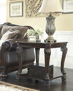 Ashley Furniture Signature Design Norcastle Square End Table Dark Brown