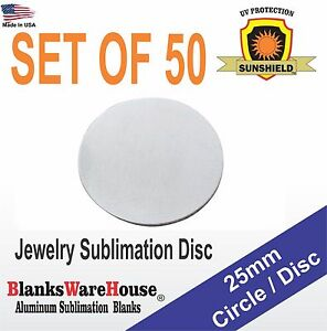 """SUBLIMATION BLANKS trophy supply .025 gauge NO HOLE 50 pieces 2/"""" Circle"""