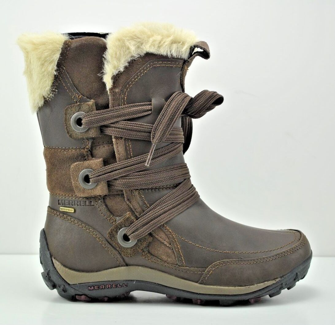 Damenschuhe Merrell Nikita Winter Waterproof Braun Leder Stiefel Größe 5 J55888