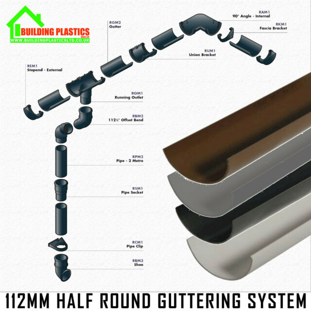 Metal Polypipe 112mm Square Plastic to Half Round Gutter Adaptor RS216 Brown