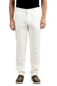 Hugo Boss Ajustado 100 Lino Blanco Hombre Pantalones Informales Us 38r It 48 Ebay