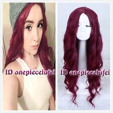 75cm Harajuku Long Curly Wine Red Fashion Wig No Bangs CC129+ a wig cap