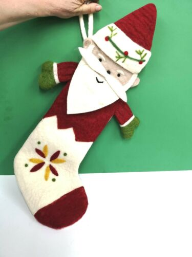 """24/"""" SANTA STOCKING WOOL Midwest CBK 143583 RED /& WHITE CHRISTMAS NEW Hand Made"""
