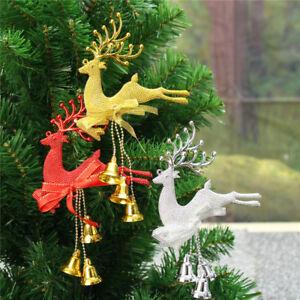 Sapin-de-Noel-Arbre-Ornament-Cerf-Clochette-Suspendu-Xmas-Party-Fete-Decoration