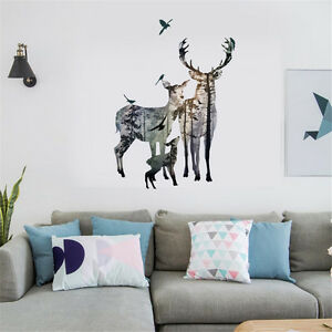 Elks-Family-Silhouette-Room-Home-Decor-Removable-Wall-Sticker-Decal-Decoration