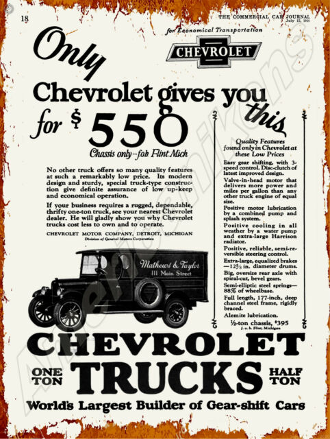 Chevrolet Trucks New Metal Sign Mississippi Corinth Southeastern Express