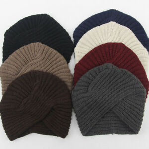 7eedd959c75 Women Men Stretchy Knit Turban Hat Head Wrap Band Hijab Pleated ...