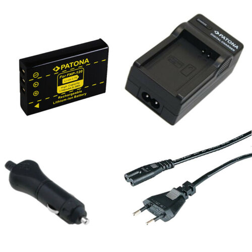 caricabatteria casa//auto per Ordro HDV-D80S,HDV-P72,HDV-V88 Batteria Patona