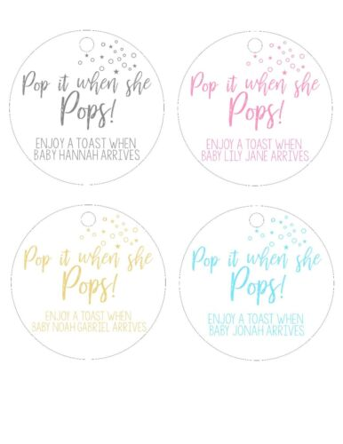 When she POPS champagne wine Baby Shower stickers labels favor thank you tags