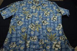 Ocean-Pacific-Blue-Hawaiian-Cotton-Medium-Men-039-s-Shirt