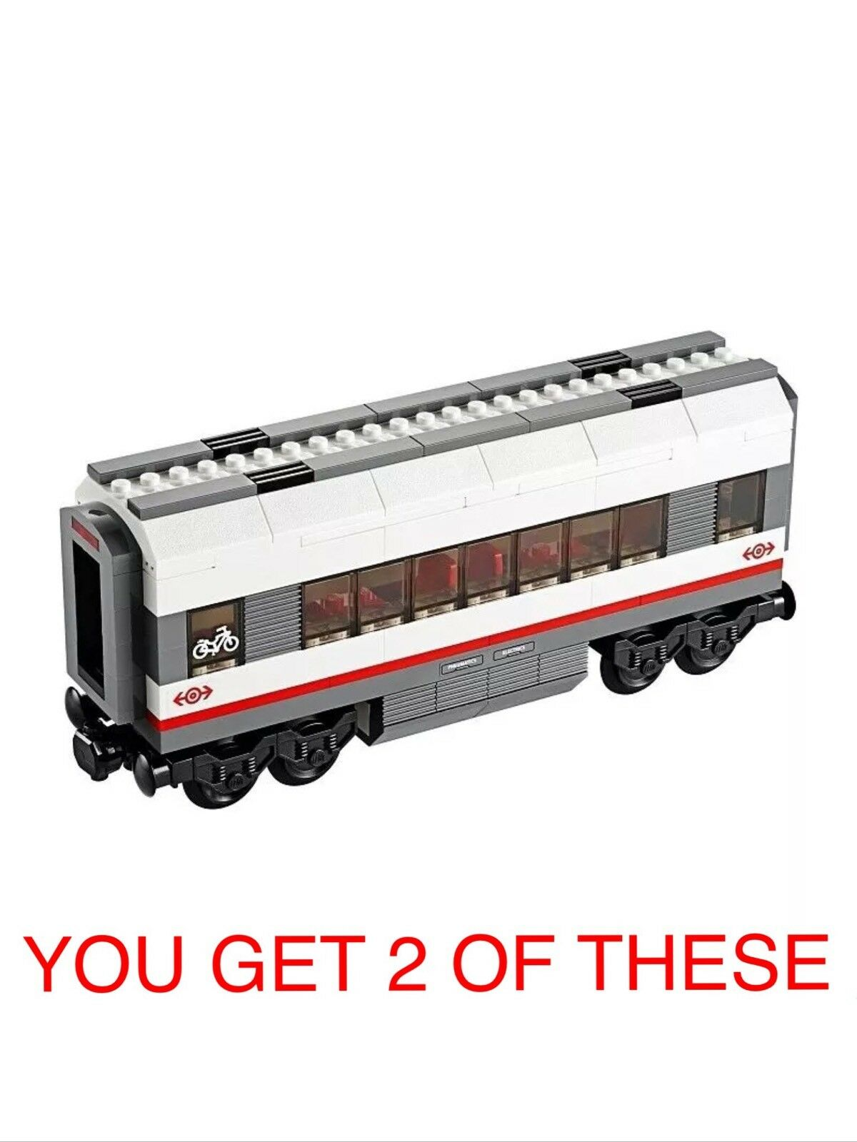 2 X LEGO CITY TRAINS, MIDDLE CARRIAGE FROM SET 60051 HIGH-SPEED TRAIN. B NEW