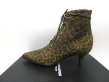 Yves Saint Laurent Cat 50 Lace Up Leopard Suede Ankle Boots Booties 37.5 7.5