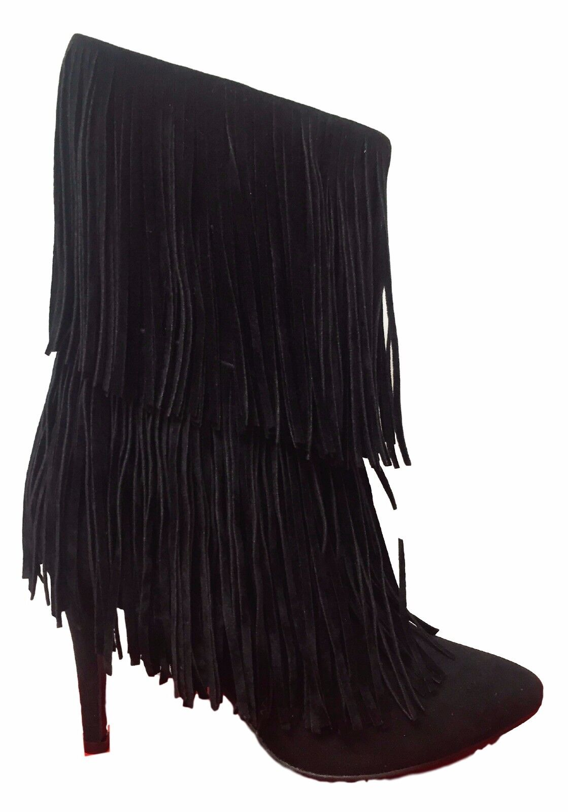 Rain-1 2 Layer Fringe Pointy Toe Faux Suede Stiletto Heel Ankle Bootie Boot BLK