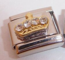 GOLD CROWN CLEAR GEMS Italian Charm - Tiara Princess 9mm Classic Size Tile GEM