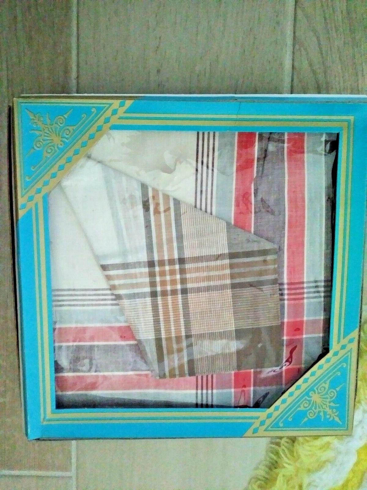 Vintage Suit Pocket Square 100% Cotton Handkerchief Multi Color Tones Two in Box
