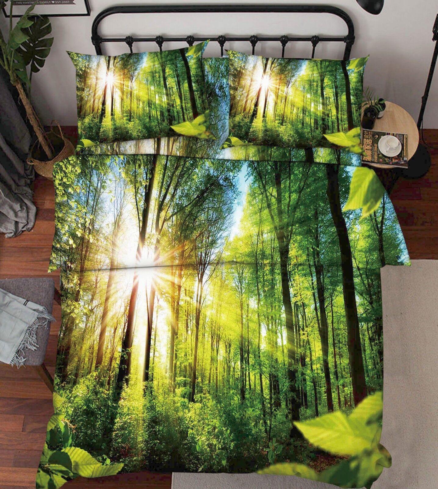 3D Sunshine Woods 685 Bed Pillowcases Quilt Duvet Cover Set Single King UK Lemon